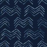 靛蓝领带染料蜡染布雪佛无缝的传染媒介样式 被画的有机 皇族释放例证