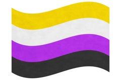 非二进制镶边黄色,白色,紫色和黑挥动的旗子 皇族释放例证