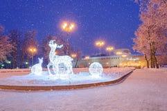 索非亚的广场在新年假日期间在Veliky诺夫哥罗德 库存图片