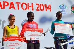 索非亚马拉松的名列前茅三妇女 图库摄影
