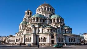 索非亚,保加利亚- 2016年12月20日:亚历山大・涅夫斯基大教堂在市索非亚 免版税库存图片
