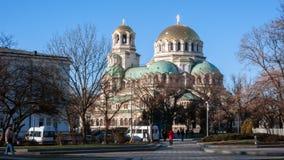 索非亚,保加利亚- 2016年12月20日:国民议会和亚历山大・涅夫斯基大教堂在市索非亚 库存图片