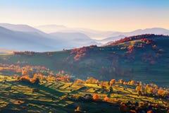 非凡秋天风景 与干草堆的绿色领域 用橙色和绯红色叶子盖的树 山风景 免版税库存图片