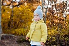 非常一个救生服的逗人喜爱的小女孩在秋天 免版税图库摄影