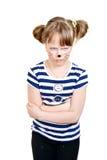 非常不快乐小老鼠的女孩 免版税库存图片