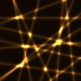 非常与金子的黑暗的背景弄脏了激光光芒 库存例证