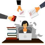 非常努力工作在她的书桌上的繁忙的女商人在有很多文书工作、税、债务和信用卡的办公室 企业概念o 向量例证