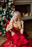 非常印度红莎丽服的美丽的白肤金发的女孩坐fl 免版税图库摄影