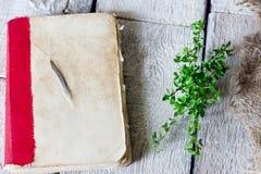 非常在桌上的老古色古香的书用在木背景的草本麝香草 免版税库存图片
