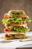 非常大和味道好的三明治用火腿乳酪 免版税库存图片