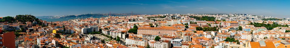 非常宽街市里斯本地平线全景  库存照片