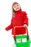 非常时髦小女孩玩具台车产品 库存图片