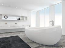 非常有浴缸的宽敞明亮的现代卫生间 免版税库存图片