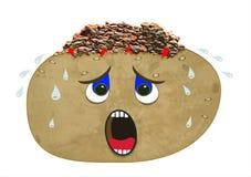非常热的带皮烤的土豆用辣椒 免版税库存照片