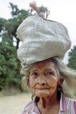 非常老拉丁美州的妇女,尼加拉瓜画象  免版税库存图片