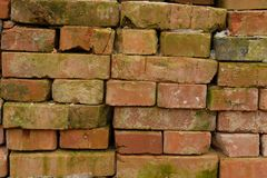 非常老砖墙,已经绿色青苔 免版税库存照片