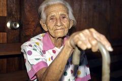 非常老,起皱纹的,尼加拉瓜的妇女画象  库存照片