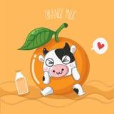 非常逗人喜爱橙色牛奶的奶牛 向量例证