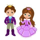 非常逗人喜爱的王子和公主的例证 库存图片