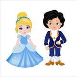 非常逗人喜爱的王子和公主的例证 免版税库存图片
