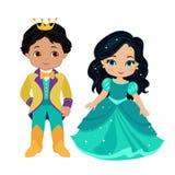 非常逗人喜爱的王子和公主的例证 库存照片