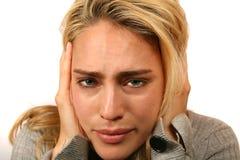 非常紧张的妇女 免版税库存照片