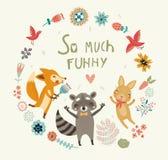 非常滑稽!与动物的逗人喜爱的背景 库存图片