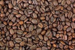 非常黑褐色特写镜头烤了粗粒咖啡豆 免版税库存图片