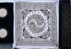 Hmong的蜡染布 库存照片