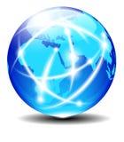 非洲、阿拉伯半岛和印度全球性通信行星数据 库存例证