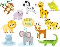 非洲动物动画片逗人喜爱的集 猴子、rhion、狮子和其他大草原野生生物孩子和孩子的 皇族释放例证