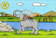 非洲动画片-飞溅水的大象 库存图片