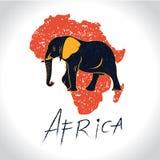 非洲和徒步旅行队与大象商标 库存例证