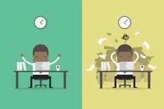 非洲商人结束工作和繁忙的商人未完成的工作 企业概念动画片 库存照片