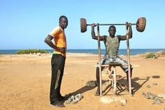 非洲海滩健身 免版税图库摄影