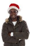 非洲男孩克劳斯帽子圣诞老人 库存图片