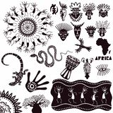 非洲的种族装饰品 在白色背景隔绝的古老标志的一汇集 E 向量例证