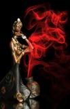 非洲背景黑色小雕象女孩 免版税图库摄影