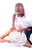 非洲裔美国人的夫妇温泉 免版税库存照片