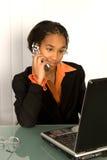 非洲裔美国人的女孩膝上型计算机 库存照片