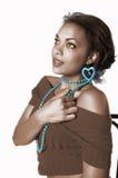 非洲裔美国人的女孩glamor 免版税库存图片