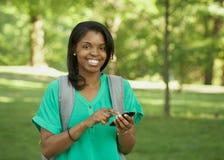 非洲裔美国人的少妇学员 免版税库存图片