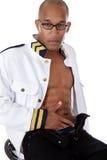 非洲裔美国人的巡航性感的船管家 免版税库存图片
