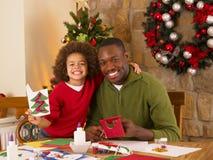 非洲裔美国人的父亲混合的族种儿子 库存图片
