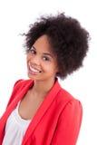 非洲裔美国人的美丽的纵向妇女 免版税图库摄影