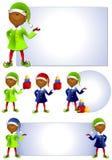 非洲裔美国人的艺术夹子矮子圣诞老人 免版税库存照片