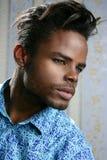 非洲裔美国人的蓝色时装模特儿纵向 免版税图库摄影