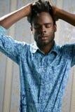 非洲裔美国人的蓝色时装模特儿纵向 库存图片