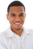 非洲裔美国人的headshot男微笑的年轻人 图库摄影