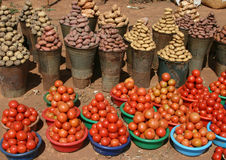非洲马拉维市场蔬菜 免版税库存照片